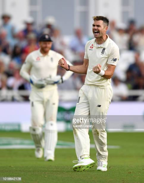 James Anderson of England celebrates dismissing Hardik Pandya of India during the Specsavers 3rd Test match between England and India at Trent Bridge...