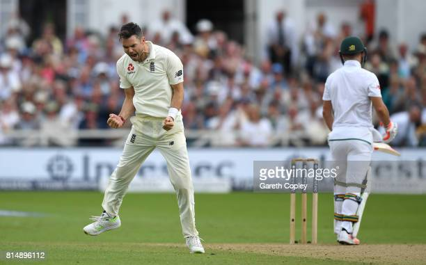 James Anderson of England celebrates dismissing Heino Kuhn of South Africa during day two of the 2nd Investec Test match between England and South...