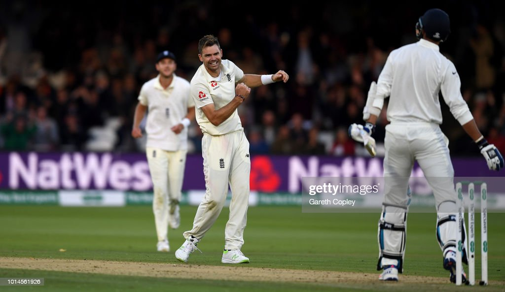 James Anderson of England celebrates dismissing Ishant Sharma of India during day two of the 2nd Specsavers Test between England and India at Lord's Cricket Ground on August 10, 2018 in London, England.
