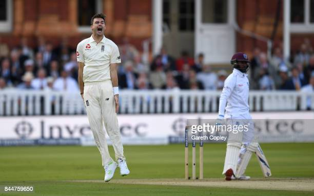 James Anderson of England celebrates dismissing Jermaine Blackwood of the West Indies during day three of the 3rd Investec Test match between England...
