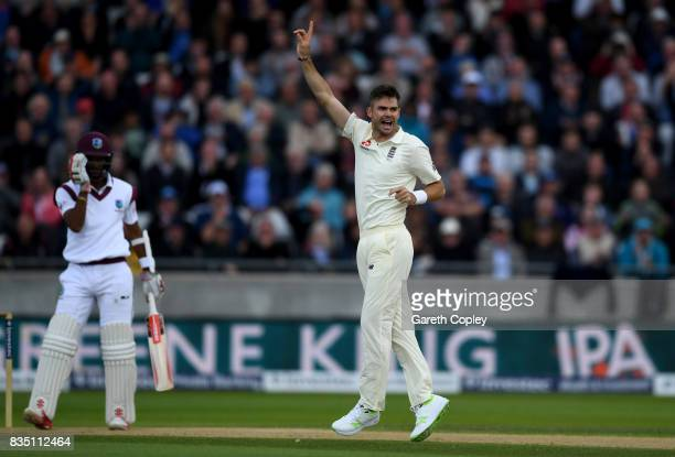 James Anderson of England celebrates dismissing Kraigg Brathwaite of the West Indies during day two of the 1st Investec Test match between England...