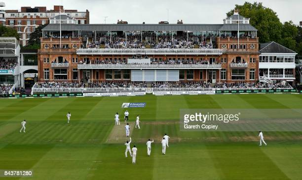 James Anderson of England celebrates dismissing Kraigg Brathwaite of the West Indies during day one of the 3rd Investec Test match between England...