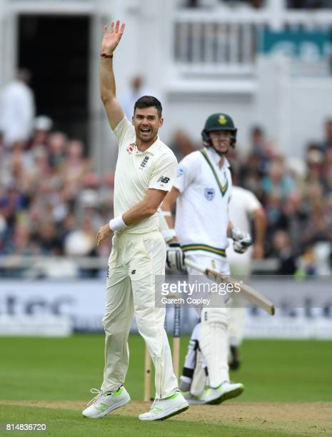 James Anderson of England celebrates dismissing Morne Morkel of South Africa during day two of the 2nd Investec Test match between England and South...