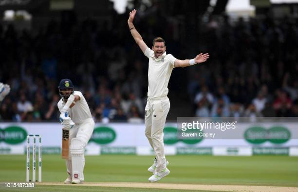 James Anderson of England celebrates dismissing Murali Vijay of India during day four of the 2nd Specsavers Test between England and India at Lord's...