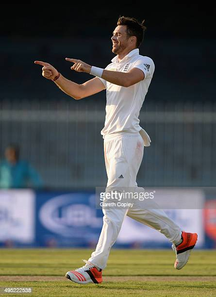 James Anderson of England celebrates dismissing Pakistan captain MisbahulHaq during day one of the 3rd Test between Pakistan and England at Sharjah...