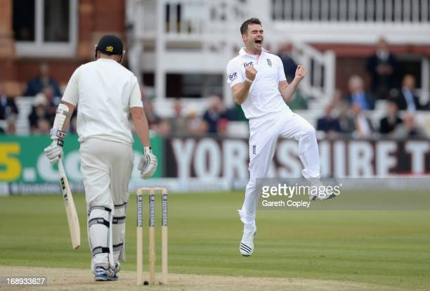 James Anderson of England celebrates dismissing Peter Fulton of New Zealand to take his 300th test match wicket during day two of 1st Investec Test...