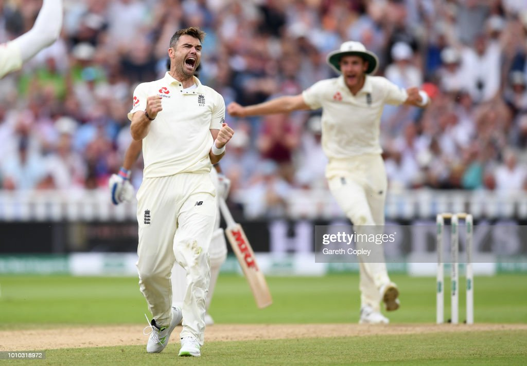 James Anderson of England celebrates dismissing Ravichandran Ashwin of India during day three of Specsavers 1st Test match between England and India at Edgbaston on August 3, 2018 in Birmingham, England.