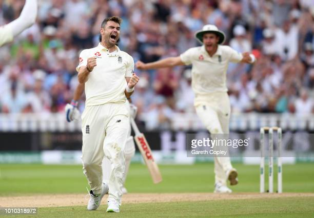 James Anderson of England celebrates dismissing Ravichandran Ashwin of India during day three of Specsavers 1st Test match between England and India...