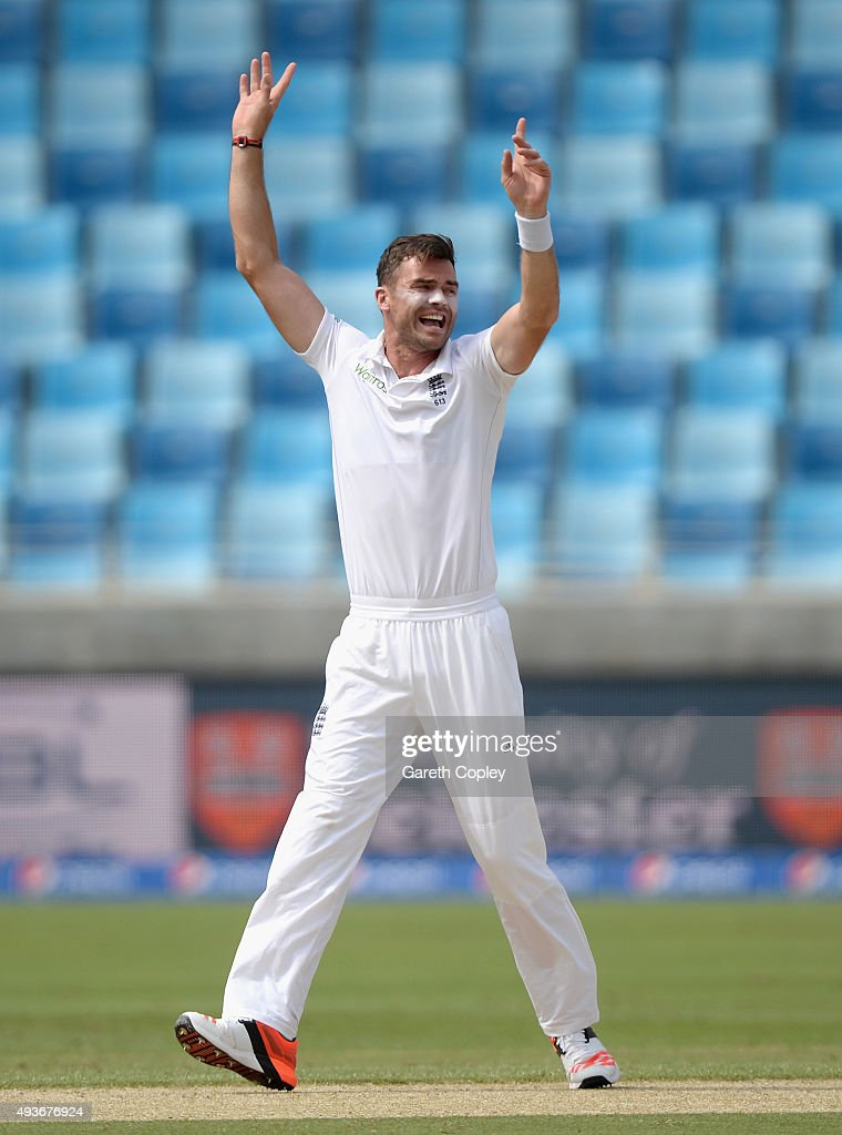 James Anderson of England celebrates dismissing Shan Masood of Pakistan during the 2nd test match between Pakistan and England at Dubai Cricket Stadium on October 22, 2015 in Dubai, United Arab Emirates.