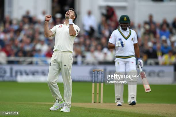 James Anderson of England celebrates dismissing Vernon Philander of South Africa during day two of the 2nd Investec Test match between England and...