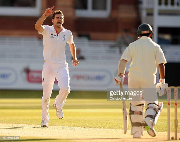 James Anderson of England celebrates getting the wicket of Mohammed Ashraful of Bangladesh during day 4 of the 1st npower Test match between England...