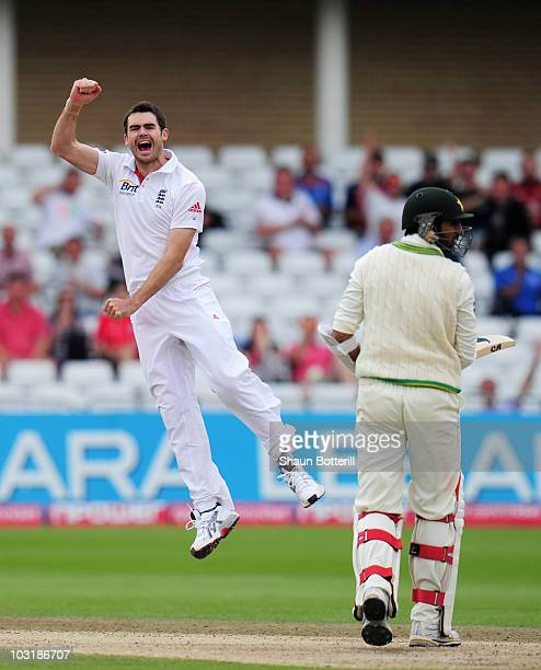 James Anderson of England celebrates his fifth wicket that of Shoaib Malik of Pakistan during day four of the npower 1st Test Match between England...