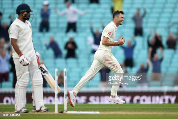 James Anderson of England celebrates taking the final wicket of Mohammed Shami to become the record test wicket taker for a pace bowler during day...