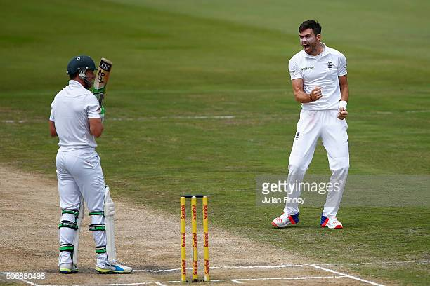 James Anderson of England celebrates taking the wicket of AB de Villiers of South Africa lbw during day four of the 4th Test at Supersport Park on...