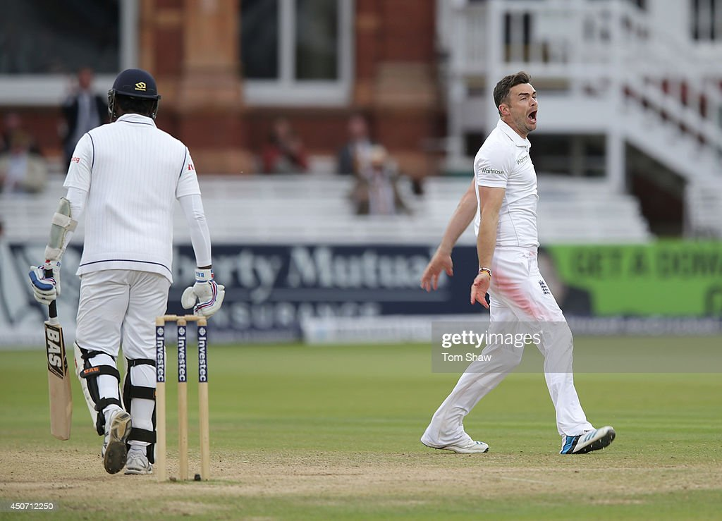 James Anderson of England celebrates taking the wicket of Angelo Mathews of Sri Lanka during day five of 1st Investec Test match between England and Sri Lanka at Lord's Cricket Ground on June 16, 2014 in London, England.