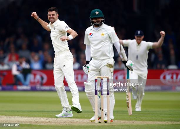 James Anderson of England celebrates taking the wicket of Azhar Ali of Pakistan during day two of the 1st Test match between England and Pakistan at...
