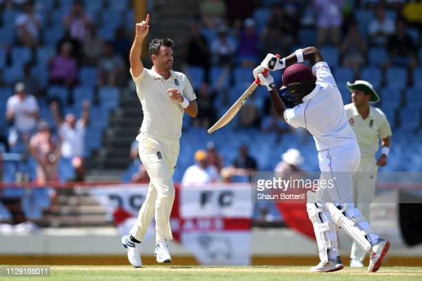 James Anderson of England celebrates taking the wicket of Darren Bravo of the West Indies during Day Four of the Third Test match between the West...