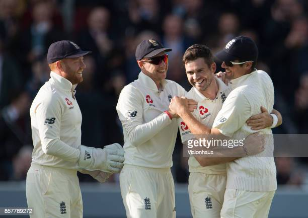 James Anderson of England celebrates taking the wicket of Kraigg Brathwaite in doing so reached the 500 test wicket milestone during Day Two of the...