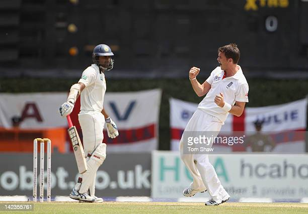 James Anderson of England celebrates taking the wicket of Lahiru Thirimanne of Sri Lanka during day1 of the second test match between Sri Lanka and...