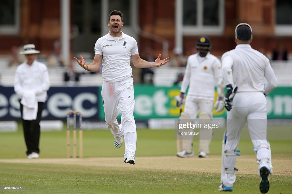 James Anderson of England celebrates taking the wicket of Lahiru Thirimanne of Sri Lanka during day five of 1st Investec Test match between England and Sri Lanka at Lord's Cricket Ground on June 16, 2014 in London, England.