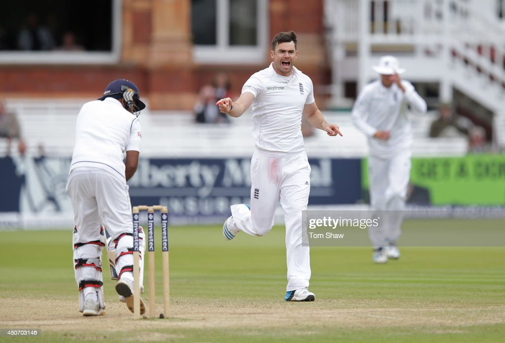 James Anderson of England celebrates taking the wicket of Mahela Jayawardene of Sri Lanka during day five of 1st Investec Test match between England and Sri Lanka at Lord's Cricket Ground on June 16, 2014 in London, England.