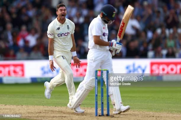 James Anderson of England celebrates taking the wicket of Virat Kohli of India at Emerald Headingley Stadium on August 25, 2021 in Leeds, England.