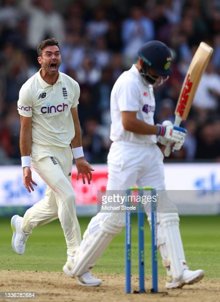James Anderson of England celebrates taking the wicket of Virat Kohli of India during day one of the Third Test Match between England and India at...
