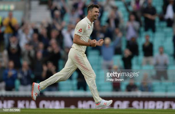 James Anderson of England celebrates the final dismissal on the fifth day of the fifth Specsavers Test Match between England and India at The Kia...