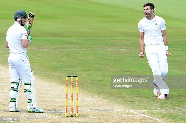 James Anderson of England celebrates the wicket of AB de Villiers of the Proteas during day 4 of the 4th Test match between South Africa and England...