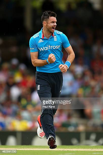 James Anderson of England celebrates the wicket of David Warner of Australia during the final match of the Carlton Mid One Day International series...
