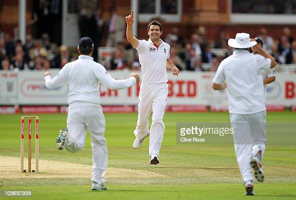 James Anderson of England celebrates the wicket of Imran Farhat of Pakistan during day three of the 4th npower Test Match between England and...