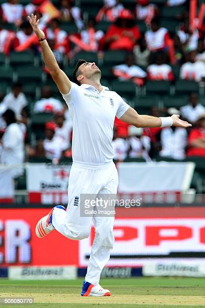 James Anderson of England celebrates the wicket of Kagiso Rabada of the Proteas during day 2 of the 3rd Test match between South Africa and England...