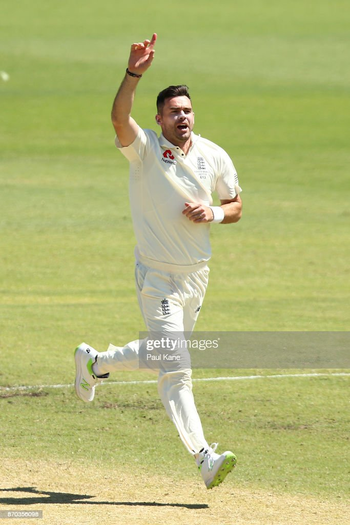 James Anderson of England celebrates the wicket of Nick Hobson of the WA XI during day two of the Ashes series Tour Match between Western Australia XI and England at WACA on November 5, 2017 in Perth, Australia.
