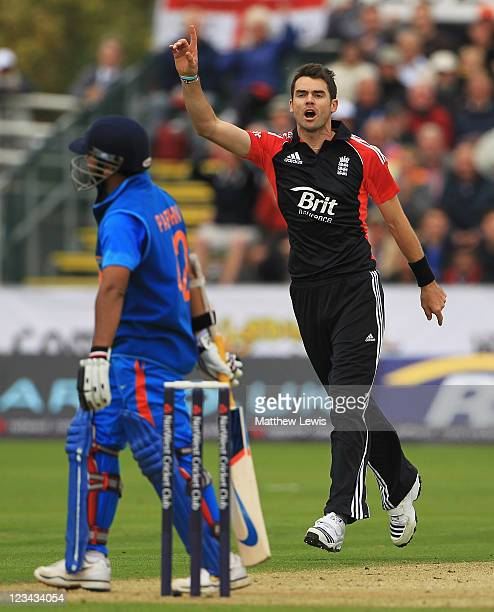 James Anderson of England celebrates the wicket of Parthiv Patel of India after he was caught by Craig Kieswetter during the 1st NatWest One day...