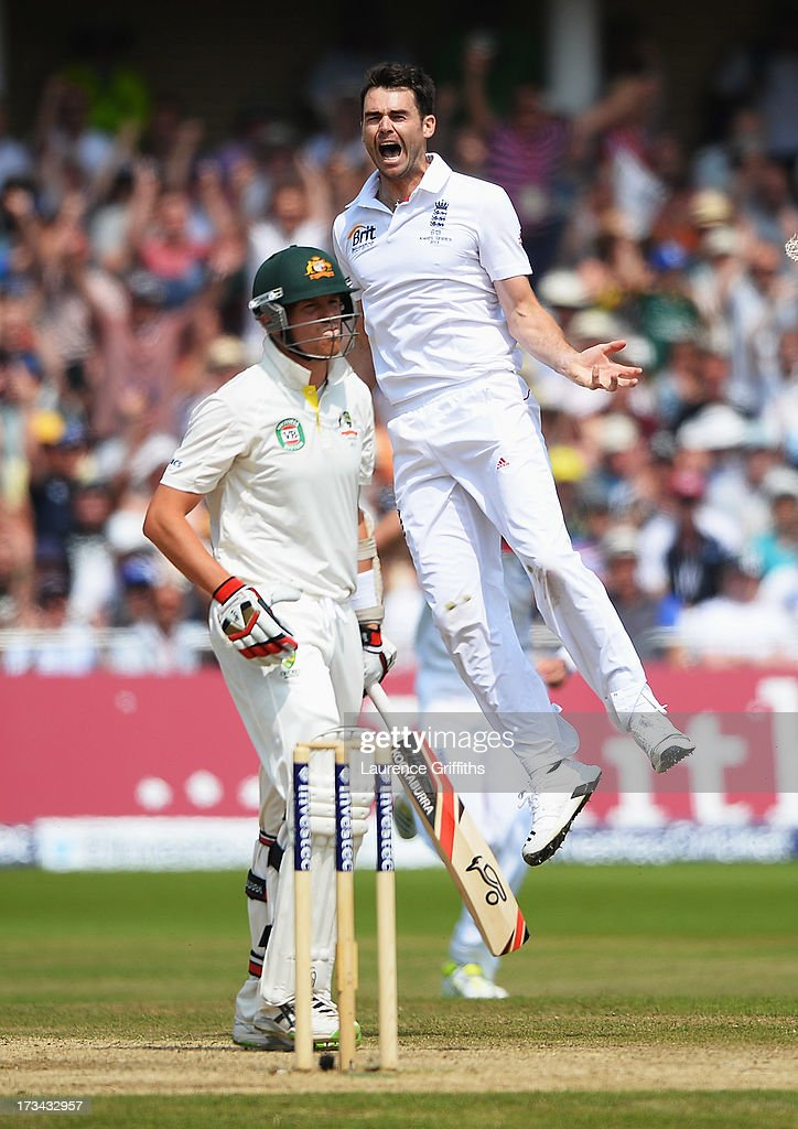 James Anderson of England celebrates the wicket of Peter Siddle of Australia during day five of the 1st Investec Ashes Test match between England and Australia at Trent Bridge Cricket Ground on July 14, 2013 in Nottingham, England.