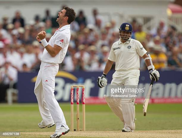 James Anderson of England celebrates the wicket of Sachin Tendulkar of India during the second npower Test match between England and India at Trent...