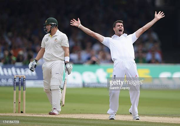 James Anderson of England celebrates the wicket of Shane Watson of Australia during day four of the 2nd Investec Ashes Test match between England and...