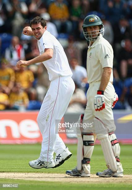 James Anderson of England celebrates the wicket of Simon Katich of Australia during day three of the npower 1st Ashes Test Match between England and...