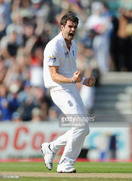 James Anderson of England celebrates the wicket of Virender Sehwag of India during day three of the 4th npower Test Match between England and India...