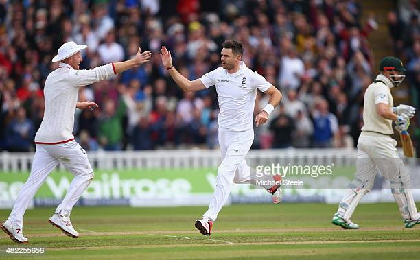 James Anderson of England celebrates with Adam Lyth after bowling Peter Nevill of Australia during day one of the 3rd Investec Ashes Test match...
