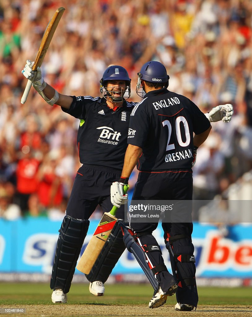 James Anderson of England celebrates with Tim Bresnan, after he hit the winning runs during the 3rd NatWest One Day International between England and Australia at Old Trafford on June 27, 2010 in Manchester, England.