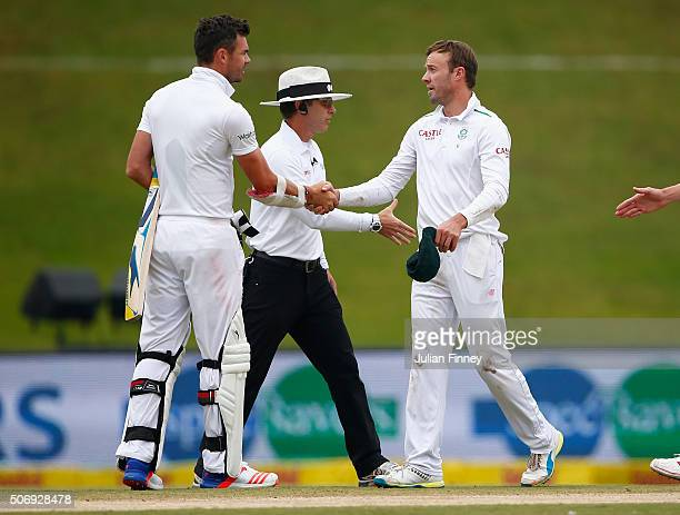 James Anderson of England congratulates AB de Villiers of South Africa after the match during day five of the 4th Test at Supersport Park on January...