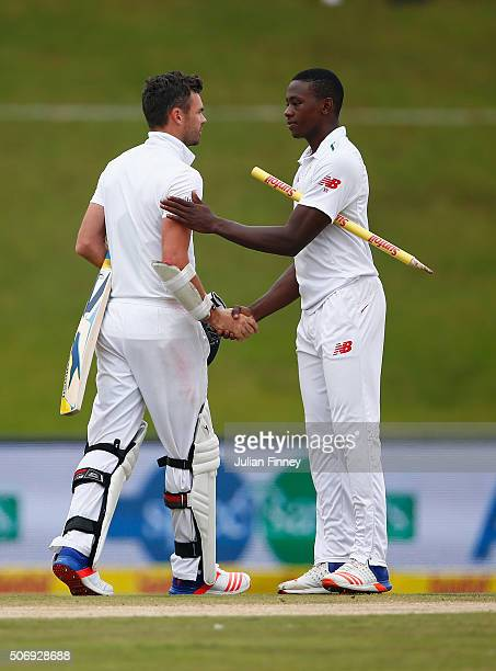 James Anderson of England congratulates Kagiso Rabada of South Africa after the match during day five of the 4th Test at Supersport Park on January...