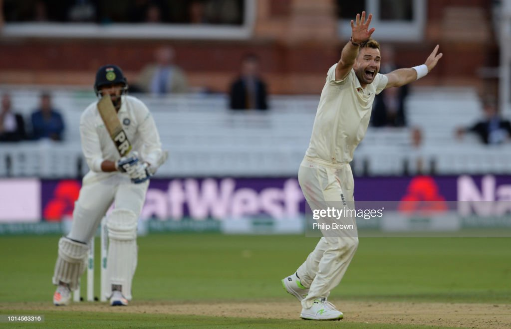 James Anderson of England dismisses Ishant Sharma of India during the 2nd Specsavers Test Match between England and India at Lord's Cricket Ground on August 10, 2018 in London England.