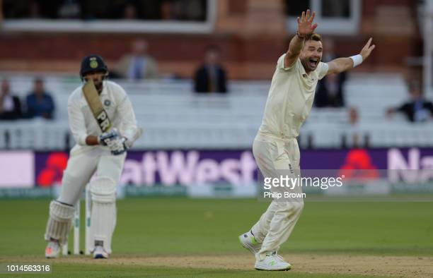 James Anderson of England dismisses Ishant Sharma of India during the 2nd Specsavers Test Match between England and India at Lord's Cricket Ground on...