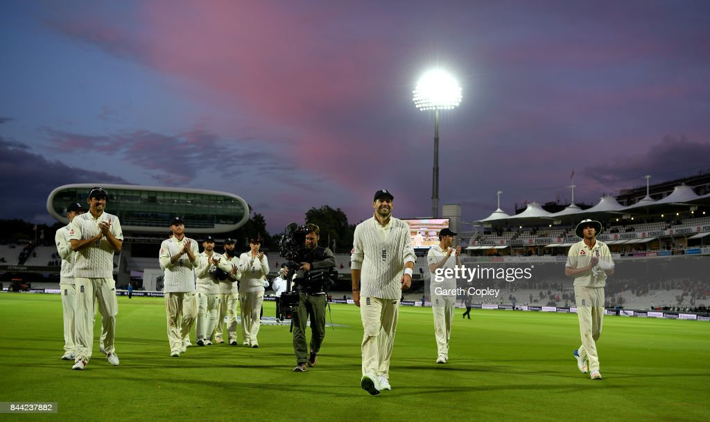 James Anderson of England is applauded from the field by teammates at stumps on day two of the 3rd Investec Test match between England and the West Indies at Lord's Cricket Ground on September 8, 2017 in London, England.