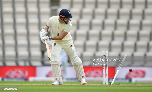 James Anderson of England is bowled by Shannon Gabriel of the West Indies during day two of the 1st #RaiseTheBat Test match at The Ageas Bowl on July...