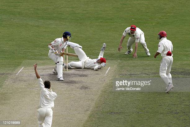 James Anderson of England is caught by South Australian wicket keeper Shane Deitz in the Final Day of their last Tour Match before the beginning of...