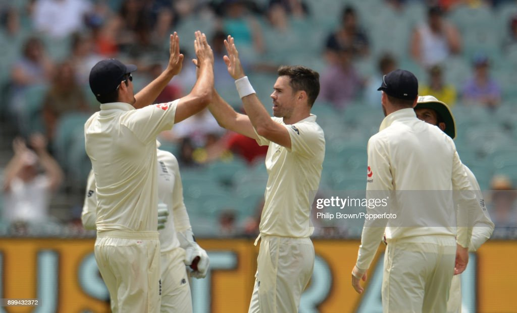 James Anderson of England is congratulated after dismissing Usman Khawaja of Australia during the fourth day of the fourth Ashes cricket test match between Australia and England at the Melbourne Cricket Ground on December 29, 2017 in Melbourne, Australia.