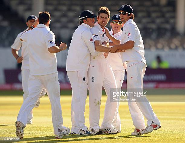 James Anderson of England is congratulted after getting the wicket of Mohammed Ashraful of Bangladesh during day 4 of the 1st npower Test match...